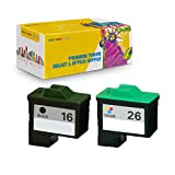 NYT Compatible High Yield Inkjet Cartridge Replacement for 10N0016 (#16) 10N0026 (#26) for Lexmark X1100, Z13, X75 (Black, Color, 2-Pack)
