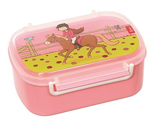 Sigikid 25006 Mädchen und Jungen, Kinder Brotdose mit buntem Druck, Lunchbox Gina Galopp für Kindergarten, Schule & Ausflüge, BPA-frei, empfohlen ab 2 Jahren, rosa, 25006