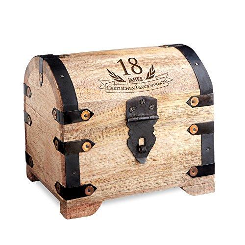 Casa Vivente Schatztruhe zum 18. Geburtstag, Schmuckkästchen mit Gravur, Aufbewahrungsbox aus hellem Holz, Verpackung für Geldgeschenke