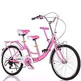 BVFONJ Bicicletta da Genitore-Bambino in Tandem, Biciclette da Mamma-Bambino, può Prendere 2 Bambini, Bicicletta da Donna Madre-Bambino (Color : Rosa, Size : 24)