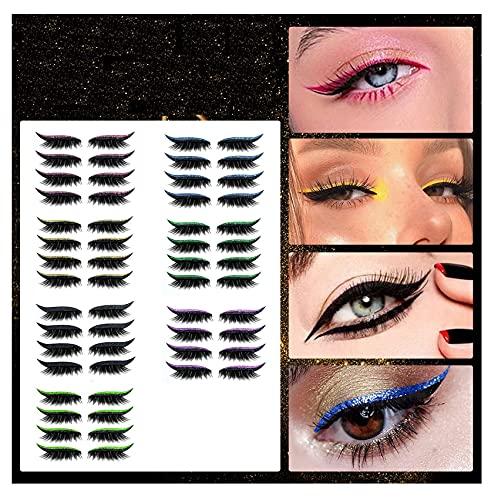 Hoothy 4 Paare Eyeliner Sticker, 2 in 1 Waterproof Long Lasting Self Adhesive Eyelid Lash Stickers, 3D Falsche Wimpern Lidschatten Eyeliner set, Wiederverwendbare Eyeliner mit Glitter (Rosa)