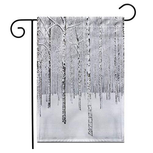 Geeyear 12,5 'x 18' Gartenflagge Blick auf schöne Winter Birke Woodsnowshoe Schneeschuh Quebec Kanada Wanderaktivität Outdoor Double Sided Decorative House Yard Flags