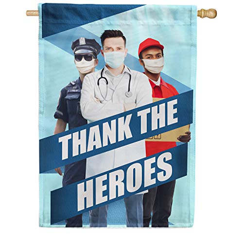 America Forever Flags Double Sided House Flag - All Heroes Deserve Thanks - 28' x 40', Thank You Healthcare Workers, Fight Against Covid-19 Coronavirus Pandemic Flag, Yard Outdoor Decor Flags