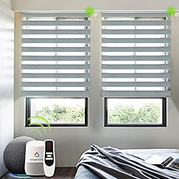 Yoolax Motorized Zebra Shade Work with Alexa Smart Dual Layer Sheer Blinds with WiFi Hardwired Power Motor Light Filtering Electric Window Blinds with Remote Control Custom Size  80% Luxury Grey