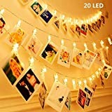 KNONEW LED Photo Clip String Lights - 20 clips photo 2.4M Battery Powered LED Éclairage d'image pour la décoration suspendue Photo, Notes, Artwork (Blanc Chaud)