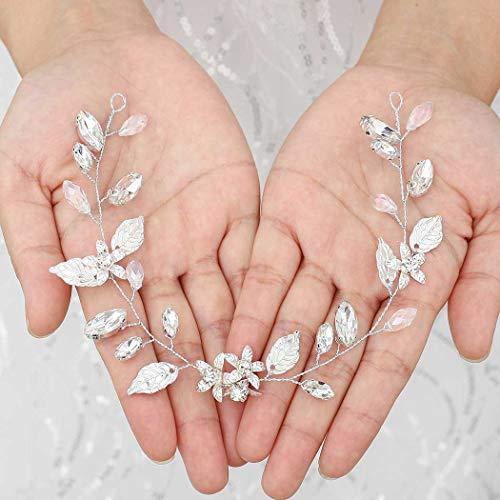 Vakkery Blumen-Hochzeits-Haarschmuck, Silberfarben, Braut-Kopfschmuck, Kristall-Haar-Accessoires für Frauen und Mädchen