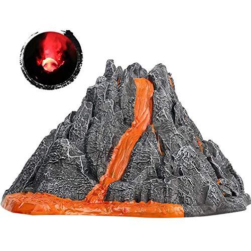 aomj Simulation Volcano Model Spray Red Light Train Dinosaur Model Toy Accessories