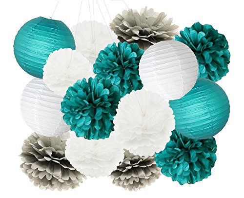 Teal Bridal Shower Decorations White Teal Grey 10inch 8inch Tissue Paper Pom Pom Paper Lanterns Teal Themed Party Wedding Teal Blue Baby Shower Teal Wedding Decoration Mermaid Party Supplies