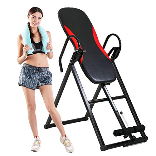 Heavy Duty Inversion Table, Meet Health and Fitness Gear Ups Table, Foldable Back Stretcher Machine for Back Pain Relief kit Therapy Training, Adjustable Spinal Decompression Cushion up to 300lbs