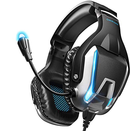 ONIKUMA Gaming Headset- Noise Canceling Gaming Headphone with Microphone and Surround Sound, LED Light, Compatible with PS4,PC,Mac, Xbox One(Adapter Not Included)