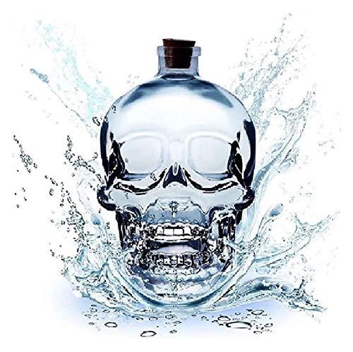 LGLSG Decantador de Botellas de Cristal de cráneo, decantador de Whisky, dispensador de Vidrio, también Utilizado para Brandy, Tequila, Bourbon, Ron, Cualquier Bar