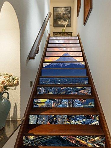3D Berg Fuji und Tokio 75 Stair Risers Dekoration Fototapete Vinyl Aufkleber Tapete DE Lemon (13x H:18cm x W:102cm (7