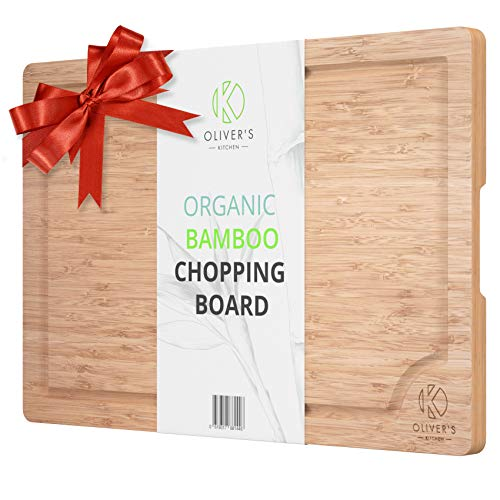 Tagliere in Bambù Premium 100% Bio Oliver's Kitchen's – Tagliere Extra Large in Legno – Resistente e Forte – Facile da Pulire con Solco per Sgocciolare