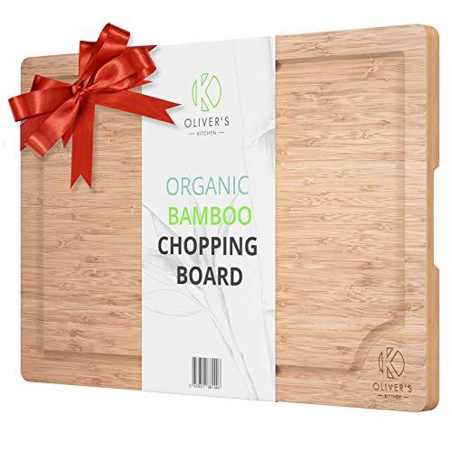 Planche à Découper Premium en Bambou 100% Bio Oliver's Kitchen – Planche à Découper en Bois Très Grand Format – Robuste, Durable et Résistante – Facile à Nettoyer Avec Rainure