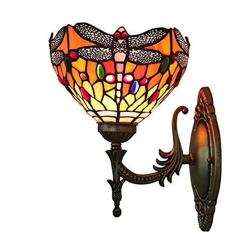 HAUSELIEBE Lampara de Pared Dormitorio Estilo Tiffany luz de Pared para Interior Aplique Pared salón Patrón de libélula Vidrio Pantalla de lámpara para restaurantes, Dormitorio E27