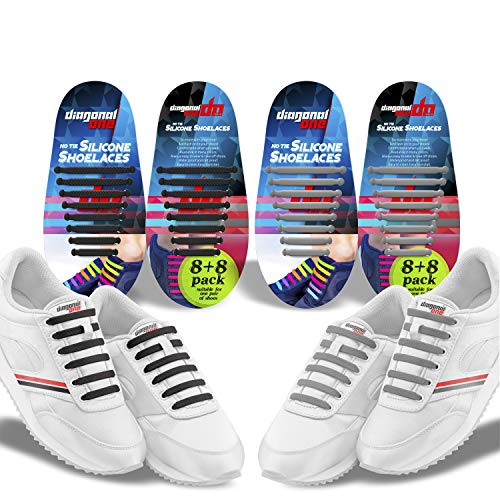 Diagonal One No Tie Shoelaces for Kids and Adults - Elastic Silicone Laces (Black + Gray)