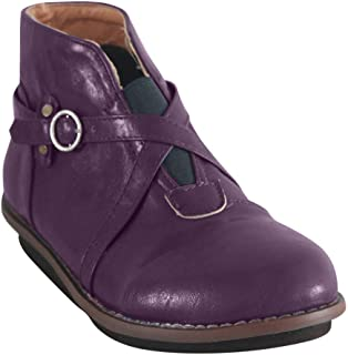 Kiyotoo Arch Support Boots for Women Flat Ankle Boots Faux Leather Vintage Buckle Strap Short Boot Autumn Flat Ankle Boots Purple