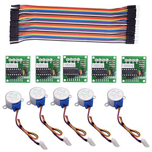 5 Unidades de 28BYJ-48 y ULN2003 5V 5 Motores Paso a Paso y 5 Controladores y los cables para las conexiones