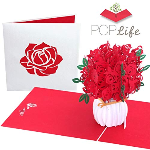 PopLife - Biglietto di San Valentino pop-up con bouquet di rose, in 3D, per festa della mamma, per figlia, per moglie 6