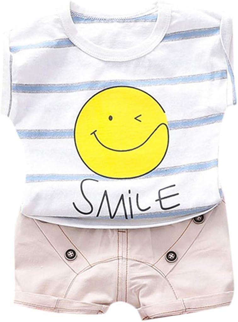 Little Story Toddler Baby Kids Boys Stripe Smile Tops T-Shirt Sh