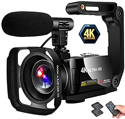 """Video Camera 4K Camcorder Vlogging Camera Recorder 30MP 3"""" LCD Touch Screen 18X Digital Zoom YouTube Camera with Microphone from LINNSE"""