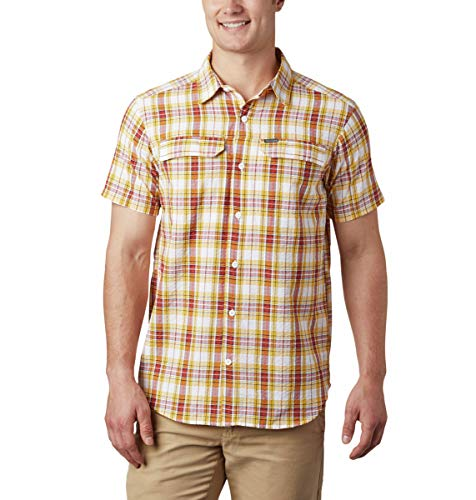 Columbia Herren Silver Ridge Kurzarmhemd Seersucker Shirt Kurzarm Shirt, Herren, 1884871, Schottenkaro in leuchtendem Gold, Größe S