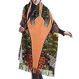 Gran danés amor flores naranjas para mujer suave Pashmina chal gran cachemir sensación bufanda abrigos cálidos manta de invierno