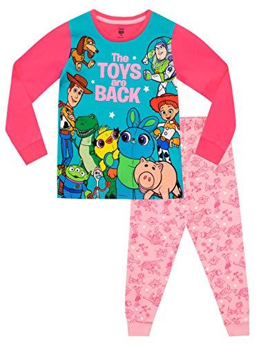 Disney Langarm-T-Shirt aus Polyester mit großem Aufdruck berühmter Toy Story-Freunde und Baumwollpyjama mit elastischer Taille für Mädchen 5-6 Jahre Mehrfarbig