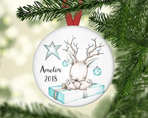 prz0vprz0v Personalized Christmas Ornaments for Baby Baby's First Christmas Ornament Baby Jackalope Bunny Christmas DecorationsCeramic Ornament Porcelain Ornament