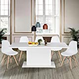 Extendable Rectangular Dining Table, Mltifunction Space Saving Wood Table for Home Restaurant Living Room High Gloss White