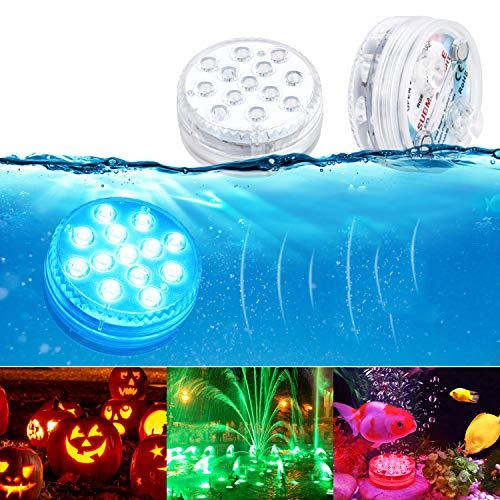 Unterwasser Licht GolWof 2 Stück Wasserdichtes LED Licht RGB 13 LEDs Unterwasser Leuchten mit RF Fernbedienung Poollampe mit Magnetisch Saugnapf für Party Hochzeit Garten Swimmingpool Spa Teich