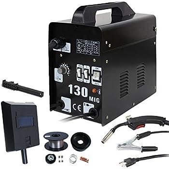 Smartxchoices Black MIG 130 AC Flux Core Wire Automatic Feed Welder Gas Shielded Welding Machine w/Free Mask 110V (MIG 130 110v)