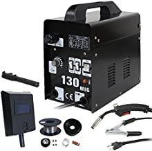 ZENY MIG130 Gas-Less Flux Core Wire Automatic Feed Welder Welding Machine w/Free Mask AC..
