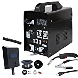 Smartxchoices Black MIG 130 AC Flux Core Wire Automatic Feed Welder Gas Shielded Welding Machine w/Free Mask 110V (MIG 130 110v)