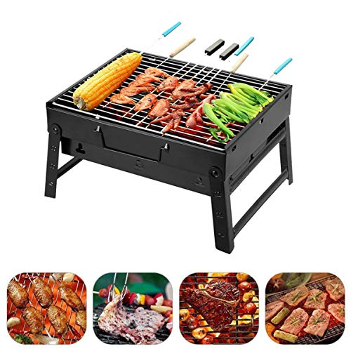 BBQ Holzkohlegrill Edelstahl Faltbare BBQ Grill Tragbarer Campinggrill Outdoor...