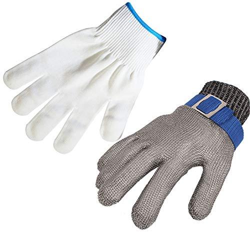 ThreeH Guantes de protección para el corte El cortar Rebanar Procesamiento de carne Guantes resistentes al corte de acero inoxidable GL09 L(Un guante)