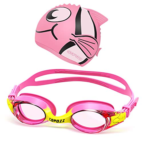 Kids Swimming Goggles, Child (Age 4-12) Waterproof Swim Goggles Clear Vision Anti Fog UV Protection No Leak Soft Silicone Frame for Kid Toddler Boys Girls