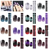 14 Sheets Nail Strips Glitter Gradient - Adhesive Color Stickers Shine Decal Nail Wraps False Nail Art Design Manicure Set with 1 Nail File, Gel Nail Polish Strips for Women Girls