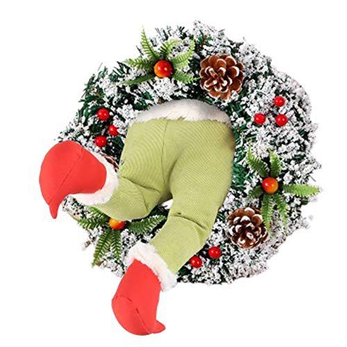 Christmas Thief Wreath,Door Decoration Garland,Funny Christmas Burlap Wreath Door Stolen Thief Stole Stuffed Elf Legs,for Christmas Thanksgivings Front Door Decoration,Christmas Decorations