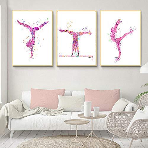 YFYW Bunte Gymnastic Girl Poster und Drucke Leinwand Paitning Wandkunst Bilder für Wohnzimmer Dekor-50x70cmx3 Stück kein Rahmen