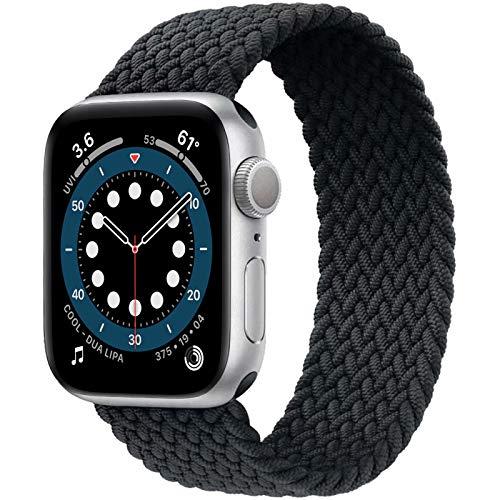 JONWIN Geflochtenes Solo Loop Kompatibel mit Apple Watch Armband,Elastic Nylon Sport Ersatzband für iWatch Serie 6/5/4/3/2/1,SE,Grau,10