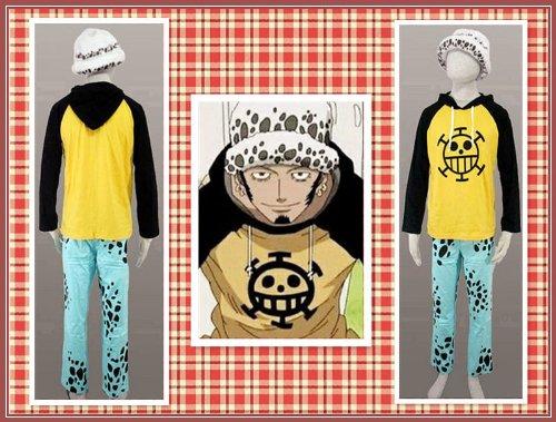 SUNKEE One Piece Trafalgar Law Cosplay T-Shirt + Trafalgar Law Chapeau +Pantalon, Taille S: (150-160 cm,40-50 kg)