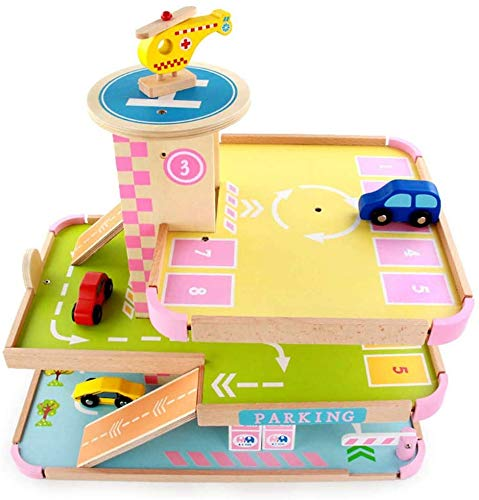 Best Deals! Ladan Preschool Education Toy, Multi-Storey Car Parks, Wooden Children's Simulation Mode...