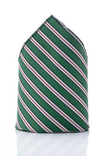 Pochette verte à rayures homme dandy cravate mouchoir costume