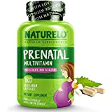 NATURELO Prenatal Multivitamin, Iron, Folate, Plant Calcium - Vegan, Vegetarian - Non-GMO - Whole Food - Gluten Free - 180 Capsules | 2 Month Supply