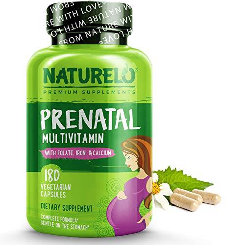 NATURELO Prenatal Multivitamin, Iron, Folate, Plant Calcium - Vegan, Vegetarian - Non-GMO - Whole Food - Gluten Free - 180 Capsules | 2 Month Supply