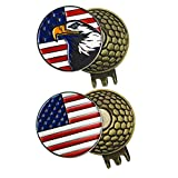 PINMEI 2 Sets of Golf Ball Markers with Magnetic Golf Hat Clips, American Flag and Eagle