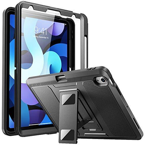 MoKo Funda para iPad Air 4ta Generación 2020 iPad 10.9 2020, Protectora con Protector de Pantalla & Soporte Pencil & Portalápices, Resistente a Prueba de Golpes Inteligente Cubierta Protectora, Negro