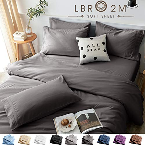 LBRO2M Bed Sheets Set Queen Size 6 Piece 16 Inches Deep Pocket 1800 Thread Count 100% Microfiber SheetBedding Super Soft Hypoallergenic BreathableResistant Fade Wrinkle Cool Warm Dark Grey