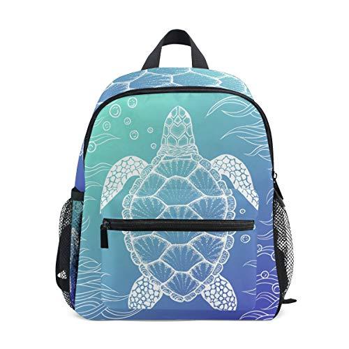 Kinderrucksack, Meeresschildkröte in Line Art Stil Leichte Kinder Schultasche Büchertasche Reisetasche für Kleinkind Kindergarten mit Brustclip